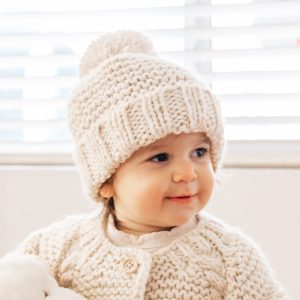 Natural Garter Stitch Beanie Hat