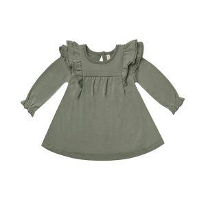 Quincy Mae Basil Long Sleeve Flutter Dress