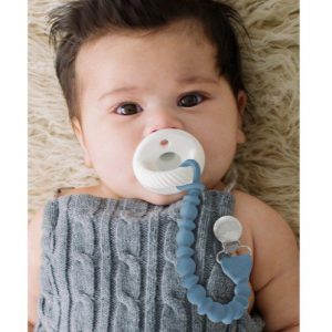 Itzy Ritzy Sweetie Strap Silicone One-Piece Pacifier Clip - Beaded Blue (1)