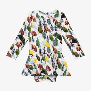 Posh Peanut Archer Long Sleeve Basic Twirl Skirt Bodysuit
