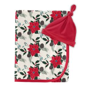KicKee Pants Christmas Floral Print Swaddle Blanket and Knot Hat Set