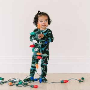 KicKee Pants Santa Dinos Print Footie with Zipper