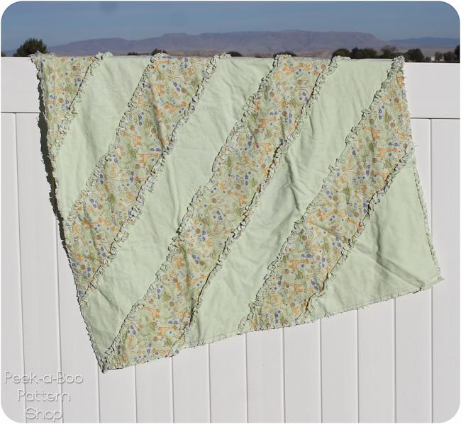 diagonal stripe rag quilt pattern