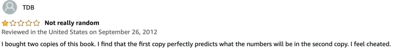 A Million Random Digits with 100,000 Normal Deviates - Amazon reviews
