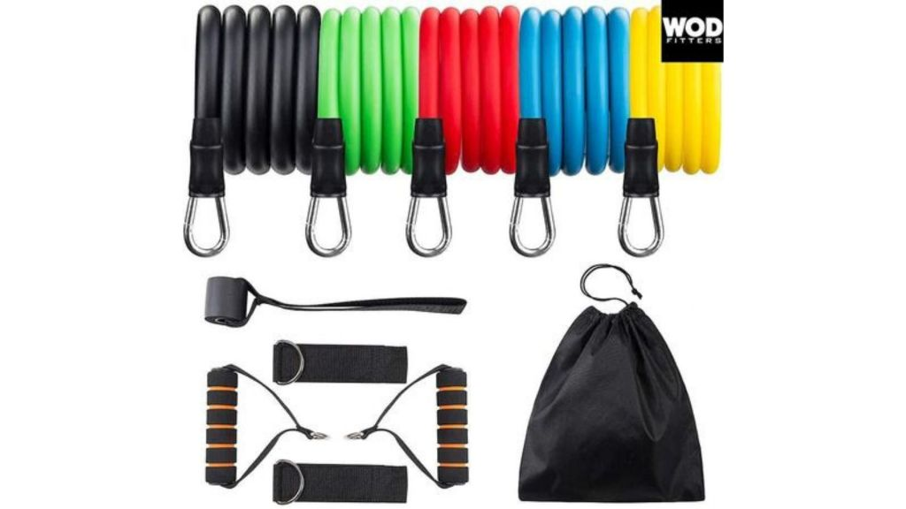 WODFitters Resistance Band Set Stackable 5 Workout Band Set With Grip Handles