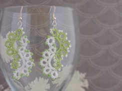 Orchid Green and White Beaded Lace Statement Yin Yang