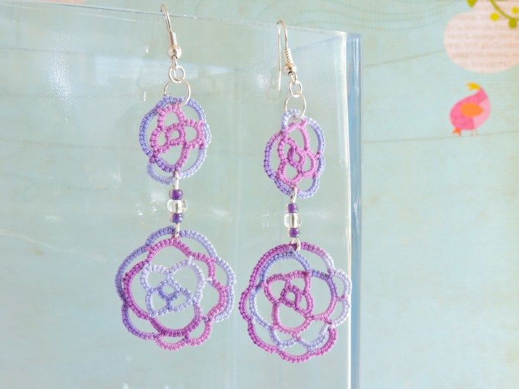 Lilac and Grape Lace Roses with Opaque Purple and Silver Lined Toho Beads