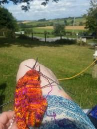 Knitting in the sunshine