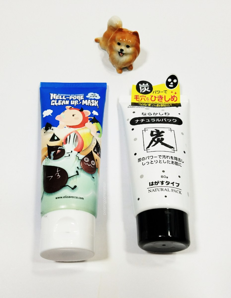 Rip the Sin out of you: A comparison of the Daiso Charcoal Natural Pack and Elizavecca Hell-Pore Clean up Peeling Masks