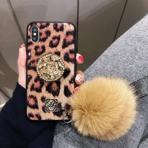 PEEPS™ Glitzy iPhone & Samsung Case (With Fur Hair Ball & Diamond Bracket)