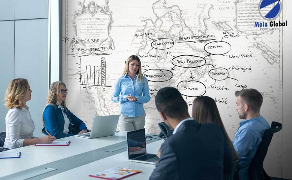 geographical theme design zero ghosting writable wall covering