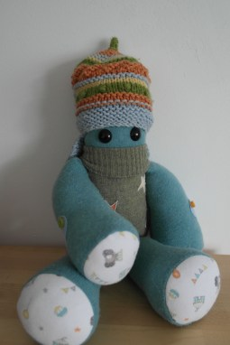 """A special 1st birthday Keepsake Critter for baby Benjamin made from a selection of his 1st year clothes ♥ © Peerie Critters 2014 """" So so clever! Love his peerie critter! They are so amazing for keepsakes! Xx ~ Siobhan """""""
