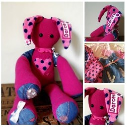 Pink Rabbity Critter loveliness made from a selection of Baby Darcey's 1st year keepsake clothes ♥ © Peerie Critters 2013 Beautiful Freya, thank you so much x ~ Claire