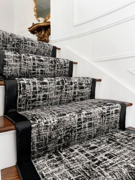 Stair Runners Peerless Rug Company Chicagoland Runner Installation | Black And White Stair Runners | Staircase | Hallway | Cool | Diy | Jute