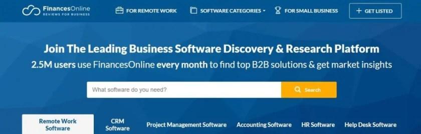 Screenshot of the FinancesOnline Homepage