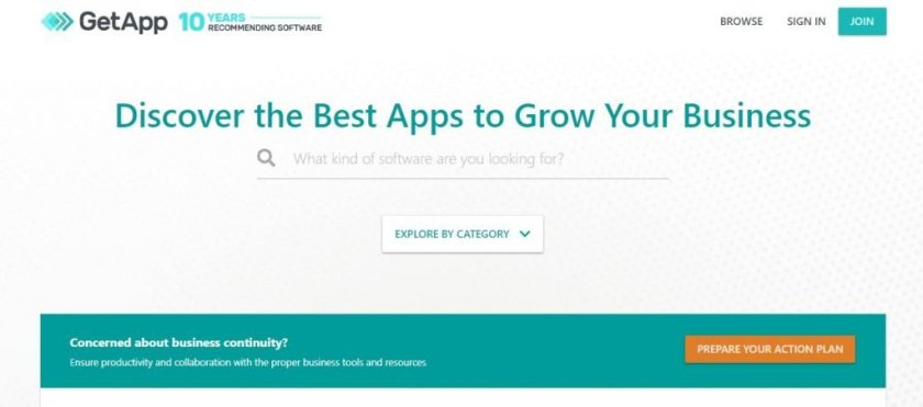 Screenshot of the GetApp Software Review Website Homepage