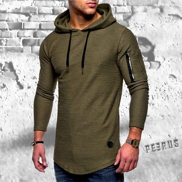 T-shirt à manches longues et capuche fibre de bambou
