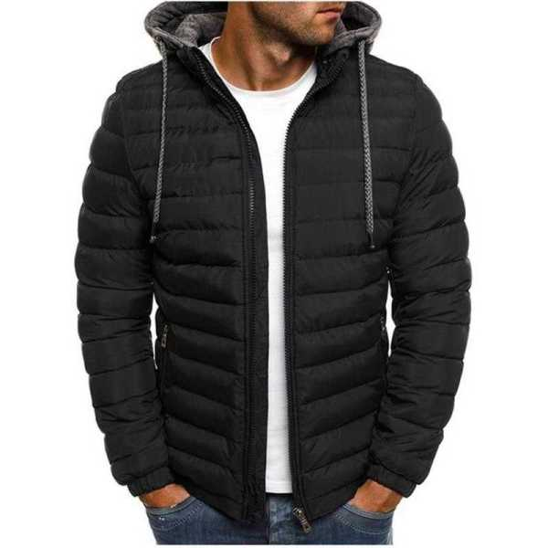Doudoune légère décontractée pour homme - Manteau coupe-vent chaud à capuche