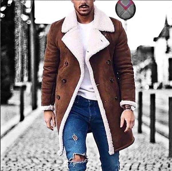 Trench long coat for men's polar fur design