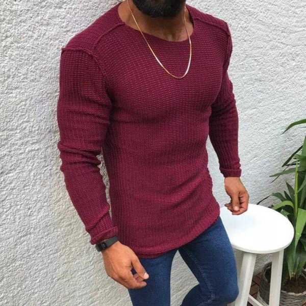 Men's knitted sweater with mixed wool, modern round neck design