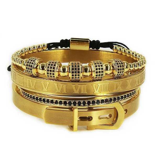 Ensemble élégant de bracelet en acier - 4 pièces - pour homme