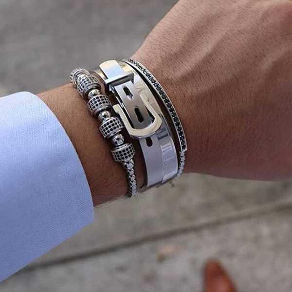 Men's steel bracelet set