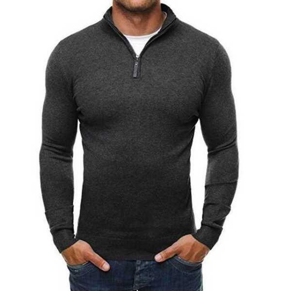 Slim zip-up thin collar wool sweater for men