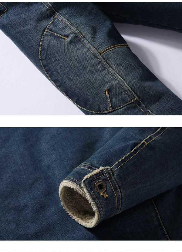 Manteau en jeans denim chaud style cowboy pour homme