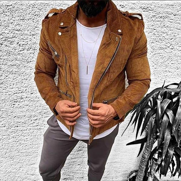 Casual jacket for men's vintage punk rock style
