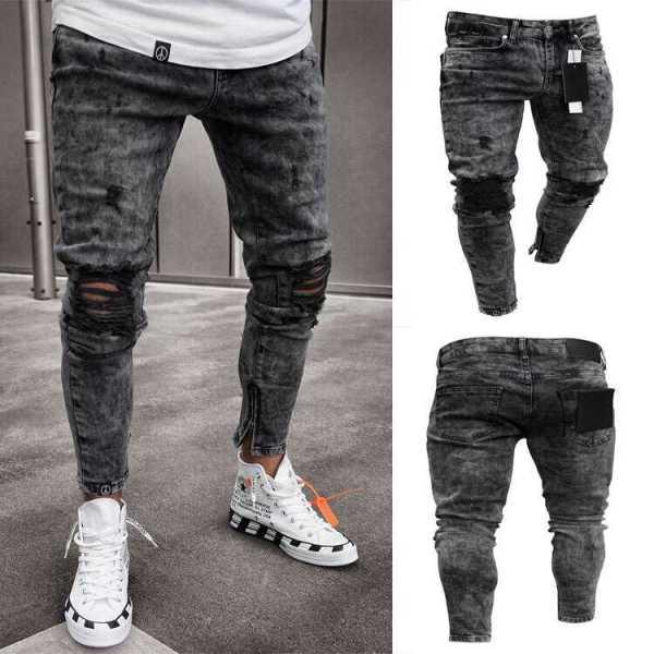 Pantalon design modern en jeans stretch skinny pour homme
