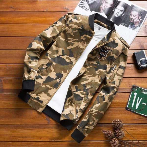 Veste Mi-Saison Casual Style Camouflage Pour Homme