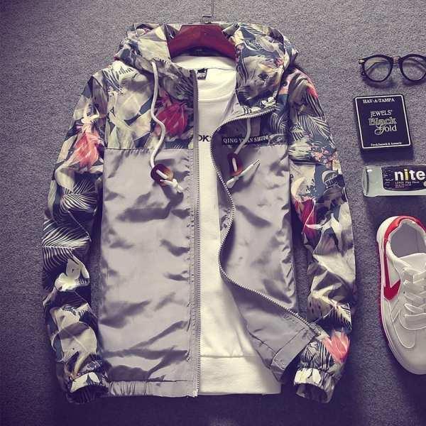 Flores con estampado de chaqueta ligera para hombres