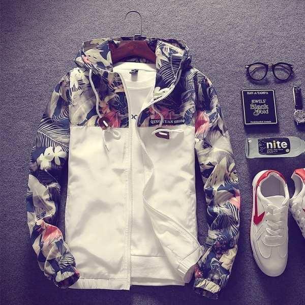 Coupe-vent veste légère motifs fleurs pour homme