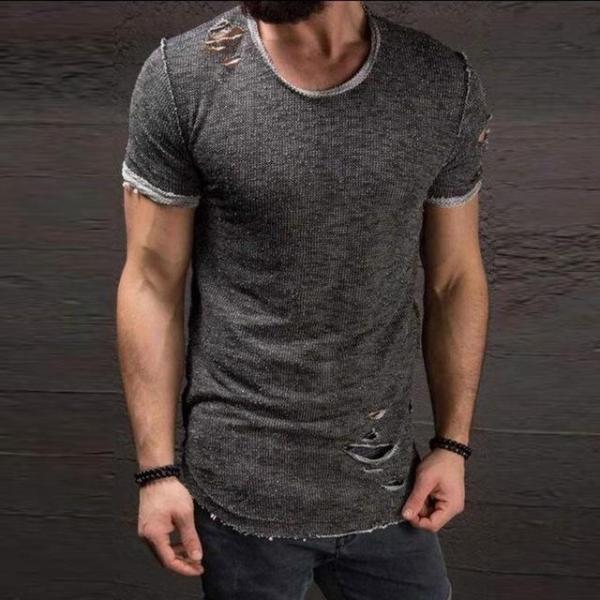 Men's ripped short-sleeved T-shirt