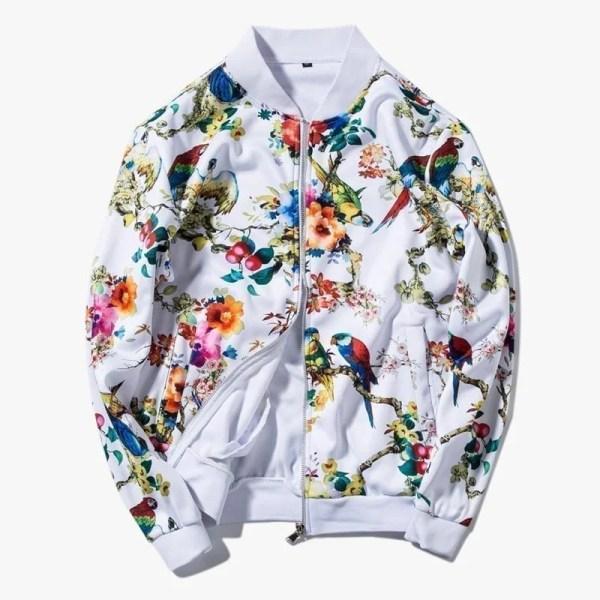 Bomber veste impressions fleurs pour hommes