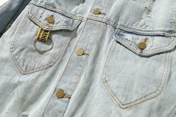 Retro hip hop denim jacket with ribbon holes for men