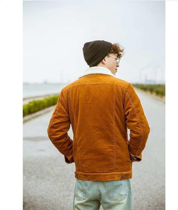 Veste rétro en velours côtelé pour homme