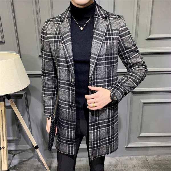 Abrigo largo de lana para hombre