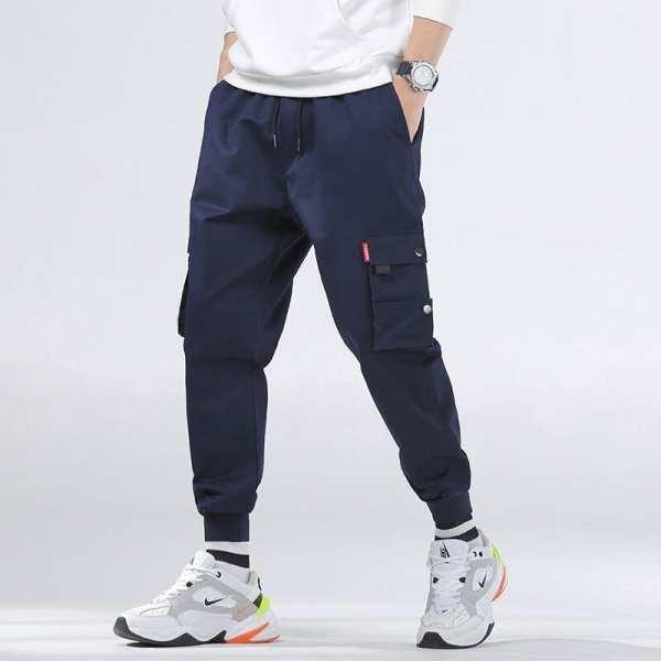 Pantalones de carga casuales de color sólido para los hombres