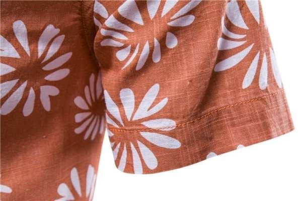 Men's short-sleeved floral print shirt
