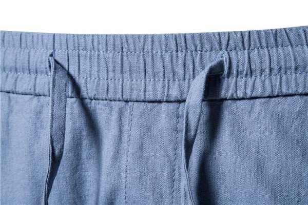 Lino sólido para hombre y pantalones cortos de algodón