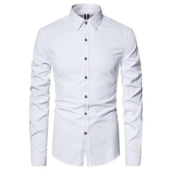 Chemise simple en coton manches longues pour hommes
