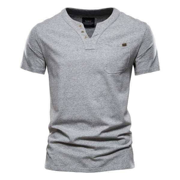 Cuello casual de la camiseta de algodón v mangas cortas para los hombres