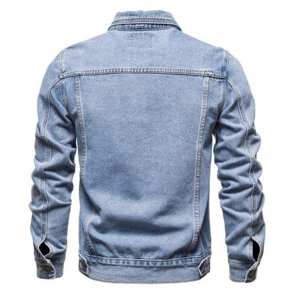 Clásica chaqueta de media temporada de mezclilla para hombre