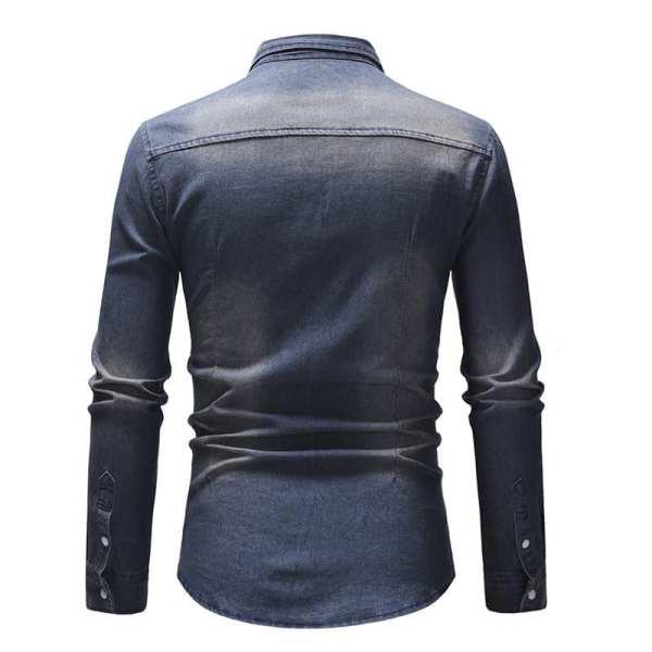 Camisa de mezclilla descolorida para hombre