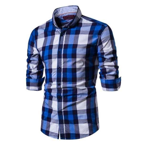 Camisa a cuadros estilo franela para hombre