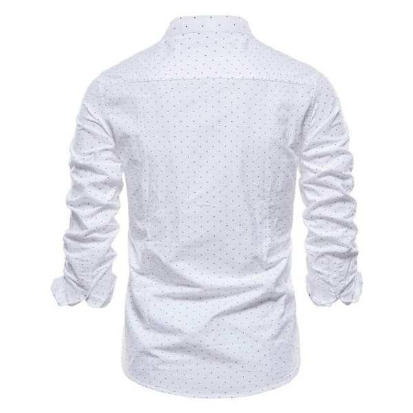 Chemise à pois manches longues col montant hommes