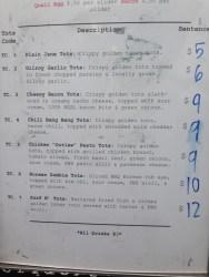 Paddy Wagon menu