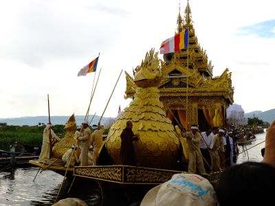 Buddha images travelling by boat from villages to villages during the festival