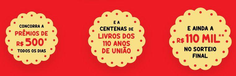 Participe da promoção União 2021 e concorra a centenas de livros, prêmios de 500 reais e participe do sorteio final de 100 mil em barras de ouro.
